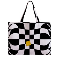 Dropout Yellow Black And White Distorted Check Zipper Mini Tote Bag by designworld65