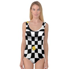 Dropout Yellow Black And White Distorted Check Princess Tank Leotard  by designworld65