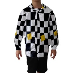 Dropout Yellow Black And White Distorted Check Hooded Wind Breaker (kids) by designworld65