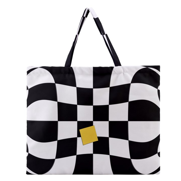 Dropout Yellow Black And White Distorted Check Zipper Large Tote Bag
