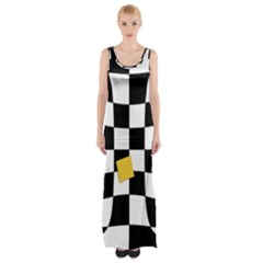Dropout Yellow Black And White Distorted Check Maxi Thigh Split Dress by designworld65