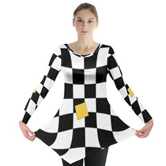 Dropout Yellow Black And White Distorted Check Long Sleeve Tunic  by designworld65