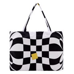 Dropout Yellow Black And White Distorted Check Medium Tote Bag by designworld65