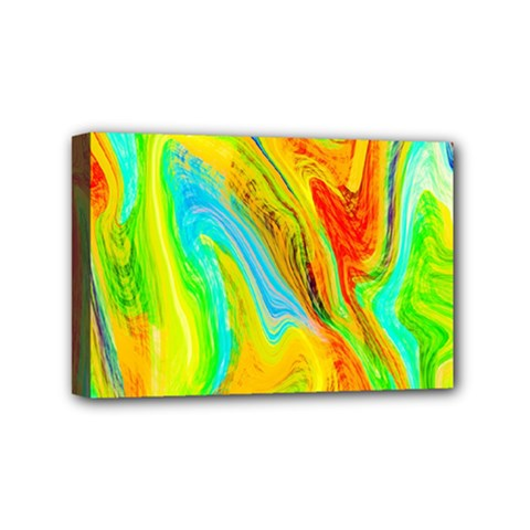 Happy Multicolor Painting Mini Canvas 6  X 4  by designworld65