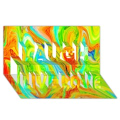Happy Multicolor Painting Laugh Live Love 3d Greeting Card (8x4) by designworld65