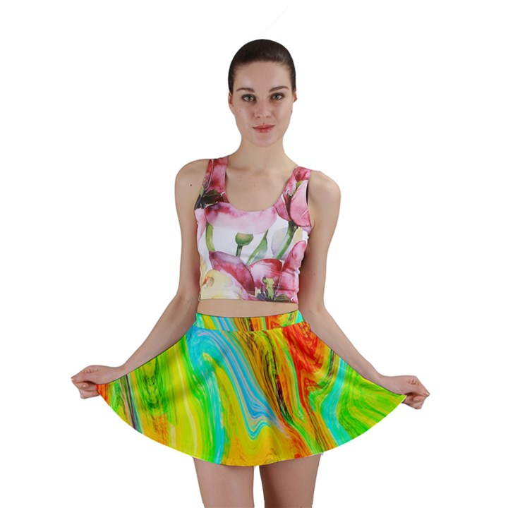 Happy Multicolor Painting Mini Skirt