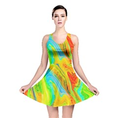 Happy Multicolor Painting Reversible Skater Dress by designworld65