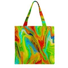 Happy Multicolor Painting Zipper Grocery Tote Bag by designworld65