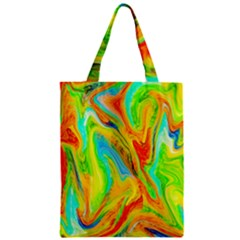 Happy Multicolor Painting Zipper Classic Tote Bag by designworld65