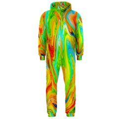Happy Multicolor Painting Hooded Jumpsuit (men)  by designworld65