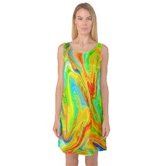 Happy Multicolor Painting Sleeveless Satin Nightdress by designworld65