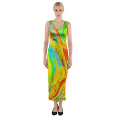 Happy Multicolor Painting Fitted Maxi Dress by designworld65