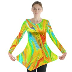 Happy Multicolor Painting Long Sleeve Tunic  by designworld65