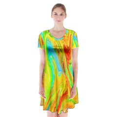 Happy Multicolor Painting Short Sleeve V Neck Flare Dress by designworld65