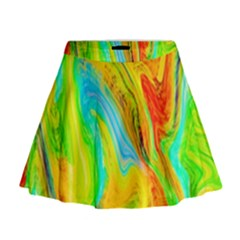 Happy Multicolor Painting Mini Flare Skirt by designworld65