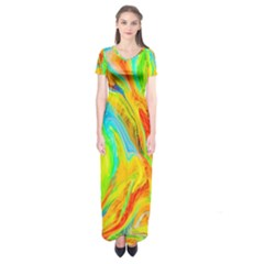 Happy Multicolor Painting Short Sleeve Maxi Dress by designworld65