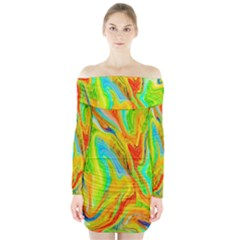 Happy Multicolor Painting Long Sleeve Off Shoulder Dress by designworld65