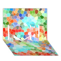 Colorful Mosaic  I Love You 3D Greeting Card (7x5)