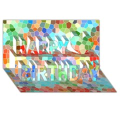 Colorful Mosaic  Happy Birthday 3d Greeting Card (8x4) by designworld65