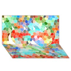 Colorful Mosaic  Twin Hearts 3d Greeting Card (8x4) by designworld65