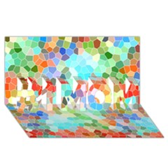 Colorful Mosaic  #1 Mom 3d Greeting Cards (8x4) by designworld65