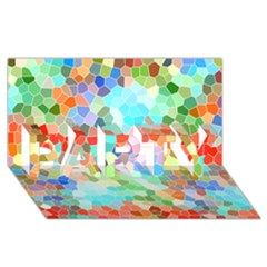 Colorful Mosaic  Party 3d Greeting Card (8x4) by designworld65
