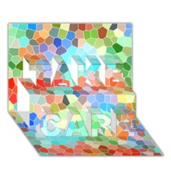 Colorful Mosaic  TAKE CARE 3D Greeting Card (7x5)