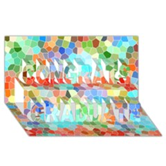 Colorful Mosaic  Congrats Graduate 3d Greeting Card (8x4) by designworld65