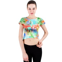 Colorful Mosaic  Crew Neck Crop Top