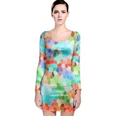Colorful Mosaic  Long Sleeve Bodycon Dress by designworld65