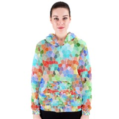 Colorful Mosaic  Women s Zipper Hoodie by designworld65