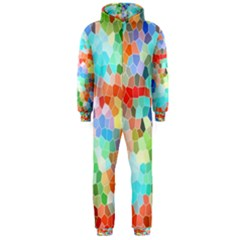 Colorful Mosaic  Hooded Jumpsuit (Men)