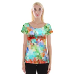 Colorful Mosaic  Women s Cap Sleeve Top by designworld65