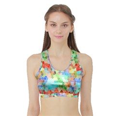 Colorful Mosaic  Sports Bra with Border