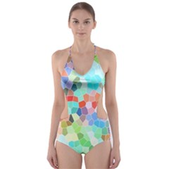 Colorful Mosaic  Cut Out One Piece Swimsuit by designworld65