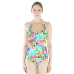 Colorful Mosaic  Halter Swimsuit