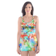 Colorful Mosaic  Skater Dress Swimsuit