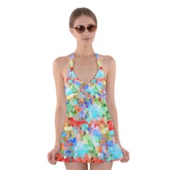 Colorful Mosaic  Halter Swimsuit Dress