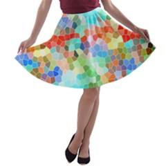 Colorful Mosaic  A Line Skater Skirt by designworld65