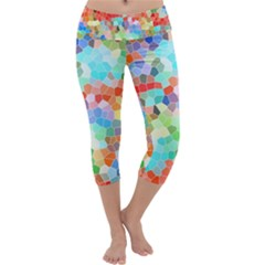 Colorful Mosaic  Capri Yoga Leggings by designworld65