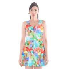 Colorful Mosaic  Scoop Neck Skater Dress
