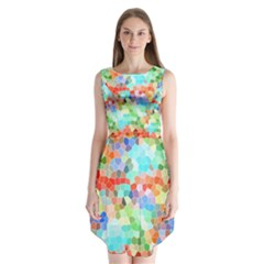 Colorful Mosaic  Sleeveless Chiffon Dress   by designworld65