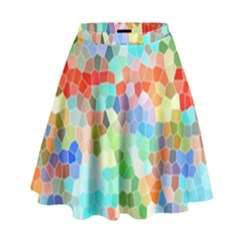 Colorful Mosaic  High Waist Skirt by designworld65