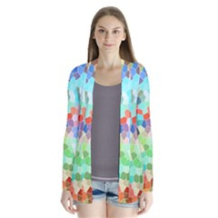 Colorful Mosaic  Drape Collar Cardigan by designworld65