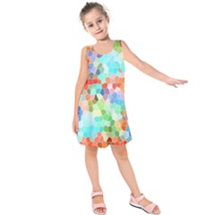 Colorful Mosaic  Kids  Sleeveless Dress by designworld65