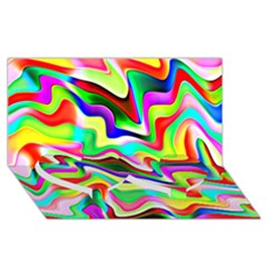 Irritation Colorful Dream Twin Heart Bottom 3D Greeting Card (8x4)