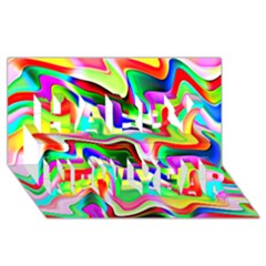 Irritation Colorful Dream Happy New Year 3D Greeting Card (8x4)