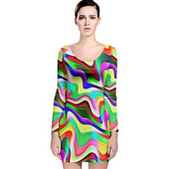 Irritation Colorful Dream Long Sleeve Velvet Bodycon Dress