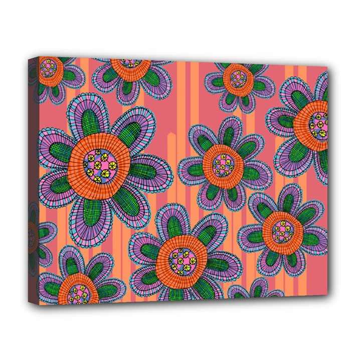Colorful Floral Dream Canvas 14  x 11