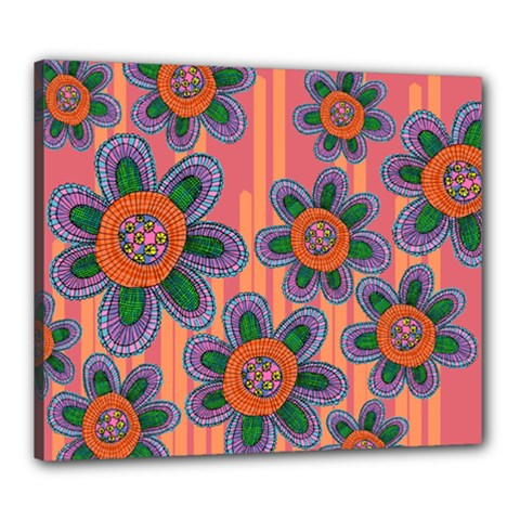 Colorful Floral Dream Canvas 24  X 20  by DanaeStudio